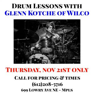 Lesson's with Glenn Kotche of Wilco for THIS THURSDAY (11/21) at Klash drum store! @ Klash Drums